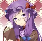 1girl abe_suke argyle argyle_background bangs blue_bow book bow closed_mouth earrings eyebrows_visible_through_hair glasses hat hat_bow holding holding_book jewelry long_hair looking_at_viewer mob_cap patchouli_knowledge purple_hair purple_hat red_bow semi-rimless_eyewear sidelocks solo sparkle touhou under-rim_eyewear upper_body violet_eyes