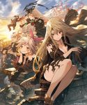 2boys 3girls black_gloves black_hat black_shirt black_skirt blush breasts brown_eyes brown_hair chin_rest cleavage collarbone day elbow_gloves ezusuke feathered_wings floating_hair gloves hair_between_eyes hair_ribbon hat highres holding holding_hat jumping large_breasts long_hair looking_at_viewer lying medium_breasts multiple_boys multiple_girls on_stomach outdoors pink_ribbon pointy_ears ponytail red_eyes red_wings ribbon sarashi shingeki_no_bahamut shirt silver_hair sitting skirt smile standing torn torn_clothes torn_gloves torn_shirt very_long_hair wings