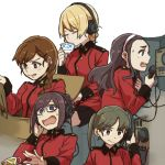 5girls bangs black_skirt blonde_hair blue_eyes braid brown_eyes brown_hair crown_braid cup darjeeling drinking dropping epaulettes extra frown girls_und_panzer grimace hair_ornament hair_over_shoulder hairclip hand_on_headphones headphones holding jacket long_sleeves military military_uniform miniskirt multiple_girls nilgiri open_mouth pleated_skirt radio red_jacket ree_(re-19) rukuriri short_hair simple_background single_braid sitting skirt st._gloriana's_military_uniform sweatdrop tank_cupola teacup tied_hair twin_braids twintails uniform v-shaped_eyebrows wavy_mouth white_background white_hair