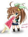 1girl ahoge biting black_footwear blue_eyes boots brown_hair chibi clenched_teeth cross-laced_footwear cutoffs dasuto dated eating food full_body fuuka_reventon green_ribbon hair_ribbon lace-up_boots long_hair lyrical_nanoha ponytail popsicle ribbon shorts sidelocks solo teeth twitter_username very_long_hair watermelon_bar white_background