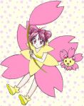 1girl cherrim chikorita85 double_bun expressionless floral_background holding looking_at_viewer looking_up moemon monmon pink_eyes pink_hair pokemon pokemon_(creature) pokemon_(game) pokemon_dppt shoes smile white_background