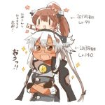 brown_eyes chibi dark_skin fingerless_gloves glasses gloves hair_between_eyes jacket kantai_collection light_brown_hair love) lowres musashi_(kantai_collection) on_head rebecca_(keinelove) remodel_(kantai_collection) short_hair_with_long_locks sitting sitting_on_person sparkle tall translation_request twintails two_side_up yamato_(kantai_collection)