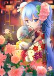 1girl absurdres blue_eyes blue_hair eyebrows_visible_through_hair flower hair_flower hair_ornament hatsune_miku highres japanese_clothes kimono lens_flare long_hair looking_at_viewer menghuan_tian pink_flower smile solo twintails upper_body very_long_hair vocaloid