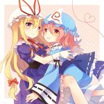 2girls blonde_hair blue_kimono dress frills gradient_eyes hair_ribbon hat heart hug japanese_clothes kimono lilith_(lilithchan) long_hair mob_cap multicolored multicolored_eyes multiple_girls orange_eyes pink_hair purple_dress ribbon saigyouji_yuyuko short_hair touhou violet_eyes yakumo_yukari