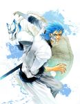 1boy arrancar bleach blue blue_eyes blue_hair dual_persona ecthelian furrowed_eyebrows grimmjow_jaegerjaquez grin hair_slicked_back male_focus panther pants resurreccion sheath simple_background smile watermark web_address white_background