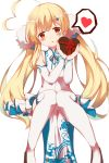 1girl absurdres ahoge azur_lane bangs blonde_hair blush boots bow brown_eyes chocolate chocolate_heart commentary_request detached_sleeves dress eldridge_(azur_lane) eyebrows_visible_through_hair facial_mark food gift_wrapping hair_ornament head_tilt heart heart_ahoge highres holding holding_food long_hair long_sleeves looking_at_viewer mola_mola parted_lips pelvic_curtain red_bow red_ribbon ribbon side_slit sitting sleeveless sleeveless_dress solo spoken_heart thigh-highs thigh_boots twintails valentine very_long_hair white_dress white_footwear white_legwear