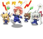 4girls :< ahoge aqua_eyes blonde_hair blue_ribbon blush_stickers bow chibi closed_eyes commentary_request cosplay dasuto einhart_stratos flower fuuka_reventon green_eyes green_ribbon hair_between_eyes hair_bow heterochromia highres jacket jumping leaf long_hair lyrical_nanoha multiple_girls no_nose nove_(nanoha) numbers_(nanoha) olimar pants pikmin_(creature) pikmin_(creature)_(cosplay) pikmin_(series) ponytail red_bow red_eyes redhead ribbon sidelocks space_helmet track_jacket track_pants track_suit triangle_mouth twintails very_long_hair violet_eyes vivid_strike! vivio walking white_footwear