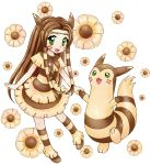 1girl :d animal_ears brown brown_dress brown_hair dress eyelashes facial_mark fake_animal_ears floral_background furret green_hair hand_holding long_hair moemon open_mouth personification pokemon pokemon_(creature) pokemon_(game) pokemon_gsc shoes smile socks straight_hair transparent_background