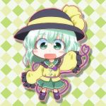 1girl argyle argyle_background black_footwear black_hat blouse buttons chibi collar commentary_request eyeball eyebrows_visible_through_hair frilled_collar frills full_body green_eyes green_hair green_skirt hat hat_ribbon heart heart_of_string komeiji_koishi long_sleeves looking_at_viewer matty_(zuwzi) medium_hair open_mouth ribbon skirt sleeves_past_wrists solo third_eye touhou yellow_blouse yellow_ribbon