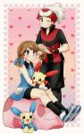 1boy 1girl :/ alternate_hairstyle beanie black_hair blue_eyes blue_shirt blush brown_eyes brown_hair chikorita85 fingerless_gloves gloves hair_brush hat heart heart_background holding long_sleeves minun odamaki_sapphire one_eye_closed pants pink_background plusle pocket poke_ball_print pokemon pokemon_(creature) pokemon_special ruby_(pokemon) shirt shoes sitting sleeveless smile sneakers standing