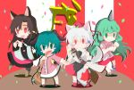 4girls animal_ears bamboo_broom black_legwear blush_stickers broom brown_hair capelet closed_mouth collared_shirt commentary_request confetti curly_hair dog_ears dress eyebrows_visible_through_hair full_body geta green_eyes green_hair highres holding holding_broom horn imaizumi_kagerou inubashiri_momiji kariyushi_shirt kasodani_kyouko komano_aun leaf long_hair long_sleeves maple_leaf multicolored multicolored_clothes multicolored_dress multicolored_shorts multicolored_skirt multiple_girls music open_mouth outstretched_arms paw_pose pom_pom_(clothes) red_eyes red_footwear shadow sheath shield shirt shoes short_hair short_sleeves shorts singing skirt smile spread_arms standing standing_on_one_leg strap sword tanpo_no_naka touhou turtleneck weapon white_hair white_legwear white_shirt wide_sleeves wolf_ears year_of_the_dog