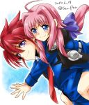 1boy 1girl ahoge blush caro_ru_lushe carrying couple dasuto dated erio_mondial lyrical_nanoha mahou_shoujo_lyrical_nanoha_strikers mahou_shoujo_lyrical_nanoha_vivid military military_uniform multiple_girls necktie piggyback pink_hair purple_ribbon red_neckwear redhead ribbon smile tsab_naval_military_uniform twitter_username uniform violet_eyes