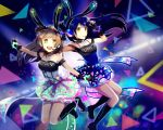 2girls absurdres animal_ears arms_up bangs bare_shoulders black_gloves blue_hair blush boots character_name choker commentary eyebrows_visible_through_hair fingerless_gloves floating_hair frills gloves grey_hair headset highres jumping long_hair looking_at_viewer love_live! love_live!_school_idol_festival love_live!_school_idol_project microphone minami_kotori multiple_girls one_side_up open_mouth outstretched_arms rabbit_ears sd_pink skirt sleeveless smile sonoda_umi yellow_eyes