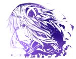1girl absurdres choujigen_game_neptune commentary_request from_side hair_ornament highres long_hair looking_at_viewer monochrome neptune_(series) power_symbol purple_heart shishin_(shishintei) solo symbol-shaped_pupils
