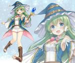 1girl alternate_costume blue_eyes blush boots bowtie crystal earrings feet frills frog green_hair hair_accessories hat kochiya_sanae long_hair nagisa3710 smile snake star straps touhou wand witch_outfit