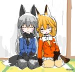 2girls animal_ears blush bow bowtie closed_eyes ezo_red_fox_(kemono_friends) fox_ears fox_tail fur_trim gloves grey_hair hands_on_lap highres kemono_friends kneeling long_hair multicolored_hair multiple_girls necktie open_mouth orange_hair pleated_skirt silver_fox_(kemono_friends) skirt sleeping sleeping_on_person sweater tail taimatsumaru_(rqcs6)