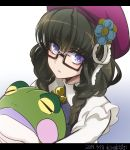 1girl artist_name braid dated flower frilled_sleeves frills from_above glasses hat highres holding kiraki letterboxed long_hair long_sleeves looking_at_viewer prelati_(symphogear) senki_zesshou_symphogear solo stuffed_animal stuffed_toy twin_braids upper_body violet_eyes