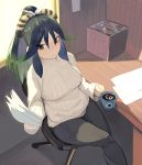 1girl black_hair chair cup drink green_hair hair_between_eyes hair_ribbon holding holding_mug holding_paper indoors jar juz kako_(kemono_friends) kemono_friends long_hair long_sleeves mug multicolored_hair paper ribbon sitting solo striped sunlight sweater table turtleneck turtleneck_sweater vertical_stripes white_sweater