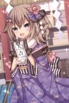 1girl :d bangs black_gloves blurry blurry_background blush bow brown_hair brown_ribbon depth_of_field eyebrows_visible_through_hair fang floral_print fur_collar gloves hair_between_eyes hair_bow hair_flaps hair_ornament hair_ribbon heart heart-shaped_pupils highres holding japanese_clothes kimono long_sleeves looking_at_viewer obi omikuji open_mouth original outdoors pink_bow print_kimono purple_bow purple_kimono ribbon sapphire_(sapphire25252) sash side_ponytail smile solo sparkle symbol-shaped_pupils violet_eyes wide_sleeves