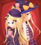 2girls abigail_williams_(fate/grand_order) bangs black_bow black_dress black_hat black_panties blonde_hair blue_eyes blush bow butterfly commentary_request dress dual_persona eyebrows_visible_through_hair fate/grand_order fate_(series) forehead hair_bow hat hat_bow highres keyhole long_hair long_sleeves looking_at_viewer looking_back multiple_girls object_hug orange_bow panties parted_bangs parted_lips polka_dot polka_dot_bow red_background red_eyes revealing_clothes roido_(taniko-t-1218) sleeves_past_fingers sleeves_past_wrists stuffed_animal stuffed_toy teddy_bear topless underwear very_long_hair witch_hat