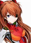 1girl blue_eyes breasts eyepatch floating_hair long_hair looking_at_viewer nannacy7 neon_genesis_evangelion orange_hair plugsuit simple_background small_breasts solo souryuu_asuka_langley upper_body very_long_hair white_background