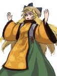 1girl :d ananna blonde_hair hat highres long_skirt matara_okina open_mouth skirt smile solo tabard thick_eyebrows touhou wide_sleeves
