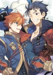 2boys blue_eyes blue_hair cape eliwood_(fire_emblem) fire_emblem fire_emblem:_rekka_no_ken fire_emblem_heroes hector_(fire_emblem) highres male_focus multiple_boys nikame open_mouth redhead short_hair smile weapon