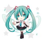 1girl :d aqua_hair aqua_neckwear arm_warmers bangs bare_shoulders beamed_quavers black_footwear black_legwear black_skirt blush boots chibi collared_shirt crotchet eyebrows_visible_through_hair full_body green_eyes hair_between_eyes hair_ornament hatsune_miku long_hair looking_at_viewer maodouzi musical_note necktie open_mouth pleated_skirt quaver shirt skirt sleeveless sleeveless_shirt smile solo standing thigh-highs thigh_boots upper_teeth very_long_hair vocaloid white_background white_shirt