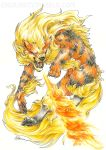 2015 arcanine breathing_fire endivinity fangs fire full_body mane no_humans pokemon pokemon_(game) pokemon_rgby realistic sharp_teeth signature simple_background solo teeth traditional_media white_background