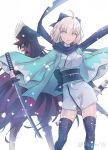 2girls ahoge artist_name black_bow black_hair black_legwear black_scarf blue_eyes bow breasts cape eyebrows_visible_through_hair fate/grand_order fate_(series) floating_hair hair_bow holding holding_sheath holding_sword holding_weapon japanese_clothes katana kimono long_hair looking_at_viewer looking_back medium_breasts multiple_girls nichiru obi oda_nobunaga_(fate) okita_souji_(fate) parted_lips red_cape red_eyes sash scarf short_hair short_kimono silver_hair simple_background smile sword thigh-highs very_long_hair weapon white_background white_kimono