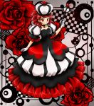 1girl asymmetrical_hair blush breasts checkered checkered_background chikorita85 commentary crown dress drill_hair drill_locks earrings eyelashes floral_background flower full_body gloves hand_up heart heart_earrings heart_necklace high_contrast holding jewelry long_dress looking_at_viewer original playing_card_theme puffy_short_sleeves puffy_sleeves queen red red_eyes red_flower red_rose redhead rose scepter short_sleeves small_breasts smile solo standing white_gloves