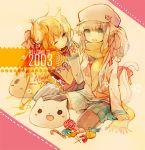 2003 48mins animal_ears candy cat_ears food hat one_eye_closed thigh-highs traditional_media watercolor_(medium) zettai_ryouiki
