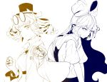 2girls back-to-back bangle belt blue bow bracelet clenched_hand commentary_request debt dress drill_hair hair_bow hair_ribbon hat hat_bow highres hiyuu_(flying_bear) jacket jewelry long_hair looking_at_viewer multiple_girls multiple_monochrome one_eye_closed pendant punching_at_viewer ribbon ring siblings sisters top_hat touhou twin_drills white_background yellow yorigami_jo'on yorigami_shion