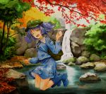 1girl :d ^_^ autumn_leaves bangs blue_footwear blue_hair blue_shirt blue_skirt blush boots breasts cabbie_hat closed_eyes closed_mouth collared_shirt day eyebrows eyebrows_visible_through_hair facing_away frilled_shirt_collar frills full_body green_hat hair_between_eyes hair_bobbles hair_ornament hat jumping kawashiro_nitori key leaf legs_together long_sleeves marker_(medium) millipen_(medium) miniskirt moss nature open_mouth outdoors palms pocket rock shiratama_(hockey) shirt short_hair skirt skirt_set sleeve_cuffs small_breasts smile solo tongue touhou traditional_media tree twintails water waterfall