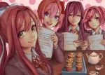 4girls :d :t absurdres blue_eyes bow brown_hair closed_mouth cup cupcake doki_doki_literature_club food green_eyes grin hair_bow hair_intakes hair_ornament hairclip highres looking_at_viewer monika_(doki_doki_literature_club) multiple_girls natsuki_(doki_doki_literature_club) open_mouth pink_eyes pink_hair pout purple_hair sayori_(doki_doki_literature_club) school_uniform smile suzanna8767 tea teacup violet_eyes yuri_(doki_doki_literature_club)