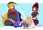 3girls =v= american_flag_dress american_flag_legwear background bare_shoulders barefoot belt black_dress black_shirt blonde_hair blush_stickers breasts butterfly_sitting chains closed_eyes clownpiece collar commentary_request dress drooling ear eichi_yuu eyebrows_visible_through_hair eyelashes fairy_wings full_body hands_together hat headdress heart hecatia_lapislazuli jester_cap junko_(touhou) lap_pillow long_hair long_sleeves midriff miniskirt moon_(ornament) multicolored multicolored_clothes multicolored_skirt multiple_girls navel off-shoulder_shirt open_mouth plaid plaid_skirt polos_crown red_eyes redhead shirt short_dress short_sleeves sitting skirt sleeping sleeves_past_wrists sweat t-shirt tabard tassel touhou very_long_hair wariza wide_sleeves wings