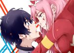 blood bodysuit darling_in_the_franxx highres hiro_(darling_in_the_franxx) horns md5_mismatch star-kiss zero_two_(darling_in_the_franxx)