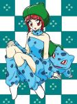 1girl arm_warmers bangs blue blue_dress blue_legwear blue_scarf blunt_bangs bulbasaur checkered checkered_background chikorita85 collarbone detached_sleeves dress happy hat knees_together_feet_apart leg_warmers moemon pale_skin personification pokemon pokemon_(creature) pokemon_(game) pokemon_rgby puffy_dress red_eyes redhead scarf shoes short_dress short_hair sitting sleeveless sleeveless_dress smile strapless strapless_dress white_footwear