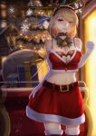 1girl 5555_96 antlers azur_lane blonde_hair breasts choker christmas christmas_tree cleavage elbow_gloves fur-trimmed_legwear fur_trim gift gloves groin highres medium_breasts midriff navel prince_of_wales_(azur_lane) red_eyes santa_costume solo