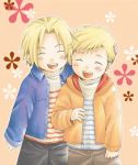 2boys alphonse_elric blonde_hair blush brothers closed_eyes edward_elric floral_background fullmetal_alchemist hand_on_another's_head happy jacket male_focus multiple_boys open_mouth pants pink_background shirt short_hair siblings simple_background smile uho_(uhoponta) white_shirt