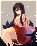 1girl bare_legs black_hair breasts cleavage collarbone commentary_request dress eyebrows_visible_through_hair feet_out_of_frame frills hair_between_eyes highres houraisan_kaguya long_hair long_sleeves looking_at_viewer off-shoulder_shirt parted_lips pink_dress pink_shirt red_skirt rin_falcon shirt sidelocks skirt solo touhou wide_sleeves yellow_eyes