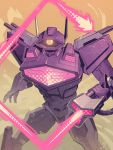 1boy 80s arm_cannon breasts cannon decepticon glowing glowing_eyes highres larry_draws no_humans oldschool shockwave_(transformers) solo transformers weapon yellow_eyes