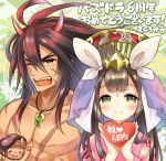 1boy 1girl bangs blush brown_eyes brown_hair chest_scar chibi_inset closed_mouth commentary_request eyebrows_visible_through_hair facial_mark fang fingernails floral_print forehead_mark green_eyes headdress heart holding holding_heart horns japanese_clothes jewelry kimono kushinada_(p&d) long_hair long_sleeves magatama marshmallow_mille necklace one_eye_closed open_mouth pink_kimono print_kimono puzzle_&_dragons scar shirtless smile susanoo_(p&d) translation_request