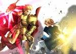 1boy 1girl armor armored_boots artoria_pendragon_(all) blonde_hair blue_ribbon boots ea_(fate/stay_night) earrings excalibur eye_contact fate/stay_night fate_(series) fighting from_side gauntlets gilgamesh grin hair_ribbon holding holding_sword holding_weapon jewelry looking_at_another red_eyes ribbon saber sen_(77nuvola) short_hair_with_long_locks sidelocks smile spaulders sword weapon