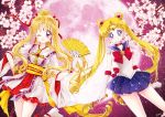 2girls :d bangs bishoujo_senshi_sailor_moon blonde_hair blue_eyes blue_sailor_collar blue_skirt bow brooch cherry_blossoms choker circlet closed_mouth cowboy_shot crescent crescent_earrings cross crossover double_bun earrings elbow_gloves fan folding_fan full_moon gloves hair_intakes hair_ornament hair_ribbon hairpin holding holding_wand jewelry kaitou_jeanne kamikaze_kaitou_jeanne kusakabe_maron long_hair looking_at_viewer magical_girl moon moon_stick multiple_girls obi one_eye_closed open_mouth parted_bangs pink_background pink_moon pleated_skirt ponytail red_bow red_neckwear red_ribbon red_skirt ribbon sailor_collar sailor_moon sailor_senshi_uniform sarashina_kau sash skirt smile tsukino_usagi twintails violet_eyes wand white_gloves
