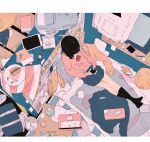 1girl bed bedroom bookshelf cardigan cellphone daisukerichard highres messy_room on_bed original overhead phone school_uniform skirt smartphone