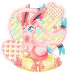 blue_eyes chikorita85 eyelashes heart heart_background no_humans pink pink_ribbon pink_skin pokemon pokemon_(game) pokemon_xy ribbon sitting solo sylveon transparent_background