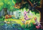 drinking drinking_straw eevee endivinity espeon falling flareon glaceon grass jolteon leafeon nature no_humans outdoors pokemon realistic swimming sylveon tree umbreon vaporeon water watermark web_address
