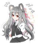 /\/\/\ 1girl abe_suke alternate_hair_length alternate_hairstyle animal_ears bangs black_skirt brown_eyes buttons character_name closed_mouth collared_shirt commentary_request eyebrows_visible_through_hair grey_hair highres long_hair long_sleeves looking_at_viewer mouse_ears nazrin shirt sidelocks signature skirt smile solo touhou twintails upper_body white_shirt