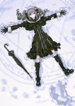 1girl boots dress drill_hair footprints gloves gothic_lolita grey_hair hair_ornament highres idolmaster idolmaster_cinderella_girls infukun kanzaki_ranko lolita_fashion lying magic_circle on_back red_eyes ribbon smile snow solo twin_drills umbrella
